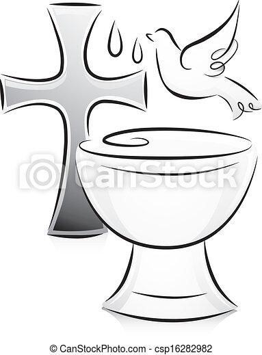 branca batismo pretas sobre crucifixos ilustração colocado