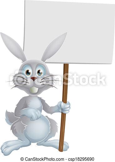 branca, bunny easter, sinal - csp18295690