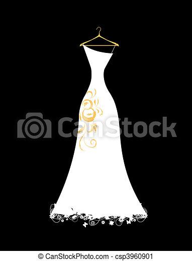 branca, cabides, vestido, casório - csp3960901
