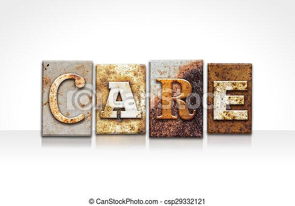 branca, conceito, isolado, letterpress, cuidado - csp29332121