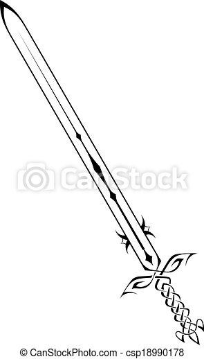 branca, espada, fundo - csp18990178
