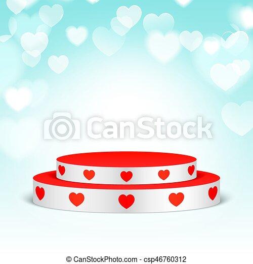 branca, hearts., pedestal, vermelho - csp46760312