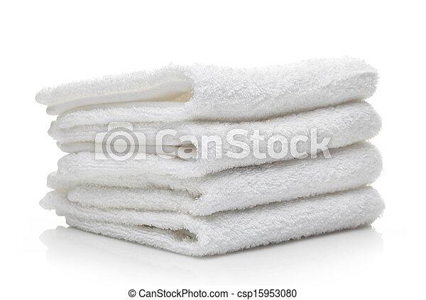 branca, hotel, toalhas, fundo, pilha - csp15953080