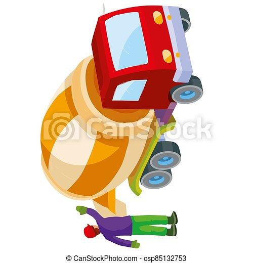 branca, isolado, caricatura, objeto, misturador concreto, despeje, concreto, saída, preparado, trabalhador, fundo, ajudando, construção, ilustração, vetorial - csp85132753