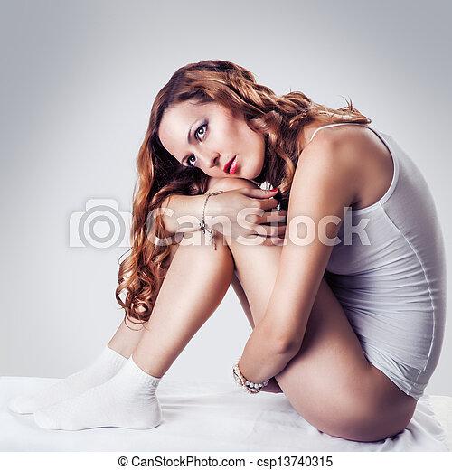 branca, langerie, mulher, bonito, algodão - csp13740315
