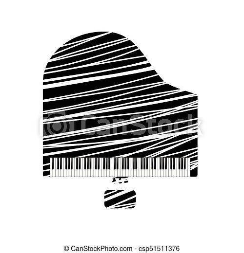 branca, piano, linha, ícone, grandioso - csp51511376