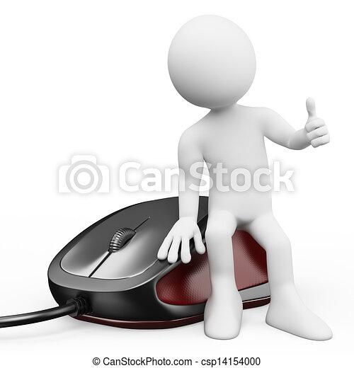 branca, rato computador, pessoas., 3d - csp14154000