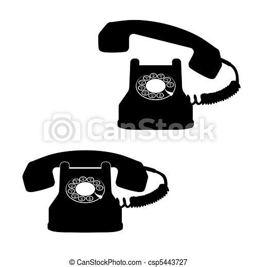 branca, telefone, contra, ícones - csp5443727