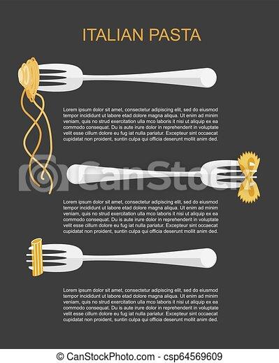 branché, pâtes, concept, étiquette - csp64569609