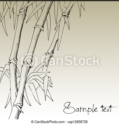 Branch of bamboo, vector background for design - csp12958738
