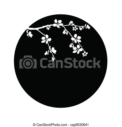 Branch of beautiful cherry blossom in circle - csp9030641