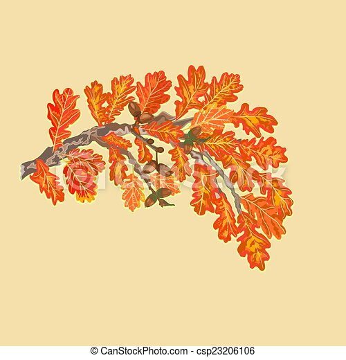 Branch of oak autumn theme vector - csp23206106