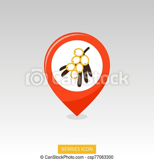 Branch of sea-buckthorn berries pin map icon - csp77063300