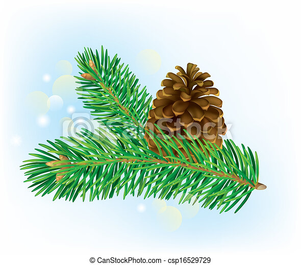 Pine Cone Illustration branch of spruce with ...
