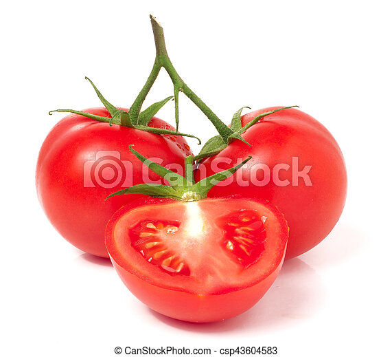 branch of tomato with half isolated on white background - csp43604583