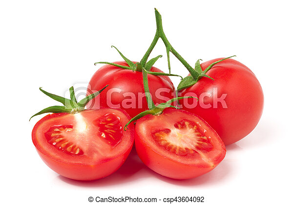 branch of tomato with half isolated on white background - csp43604092