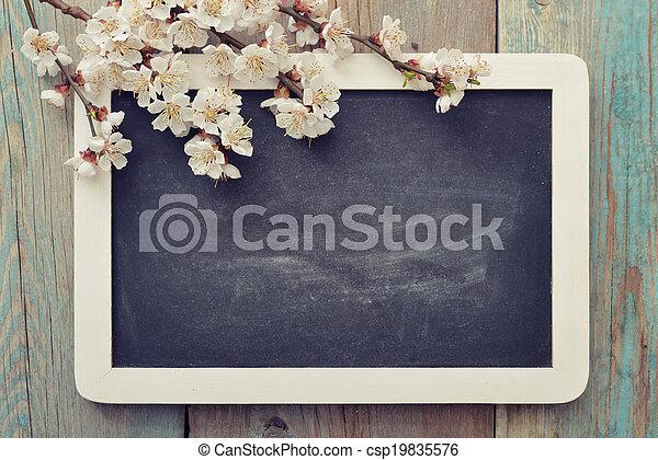 Branch with framed blackboard - csp19835576