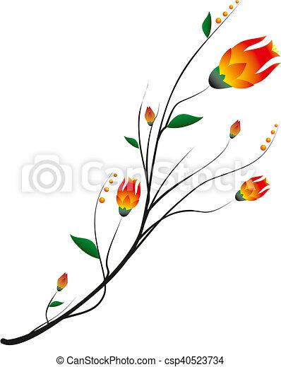 Branche bourgeon fleur - Dessin bourgeon ...