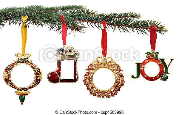 branche, peint, arbre, main, ornements, pendre, noël - csp4583998