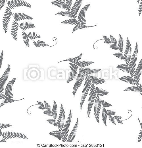 branches and leaves seamless grey - csp12853121