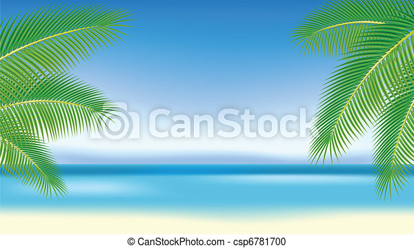 Branches of palm trees against the blue sea. - csp6781700
