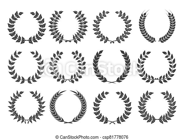 Branches with leaves wreath set - csp81778076