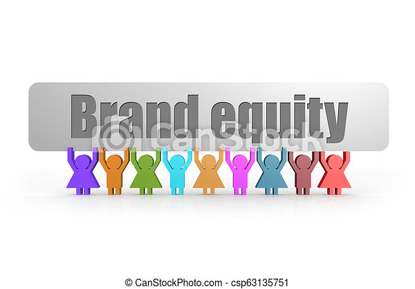 Brand equity word on a banner hold by group of puppets - csp63135751