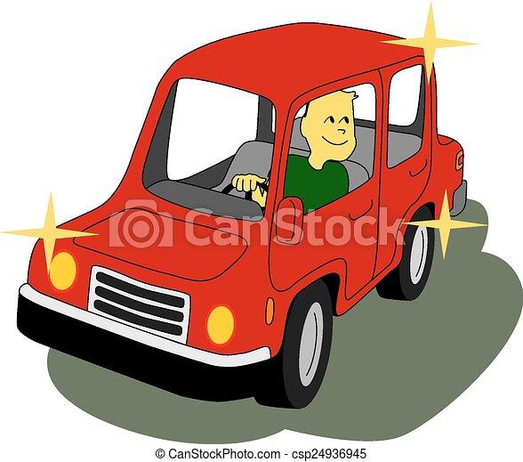 man driving his red car happy man drives sports car in vector rh canstockphoto com Family Car Clip Art Hybrid Car Clip Art