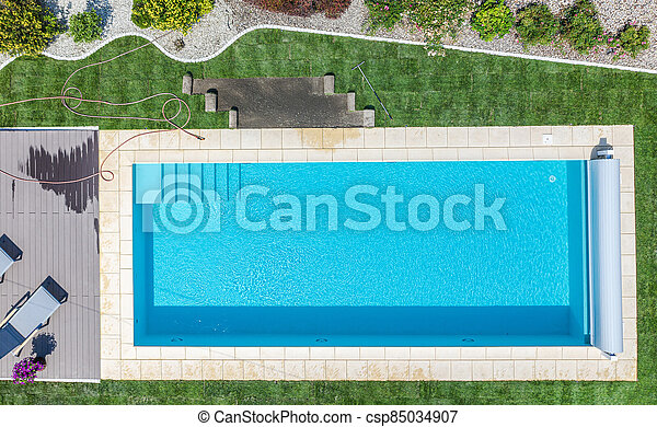 Brand New Outdoor Residential Swimming Pool Aerial View - csp85034907