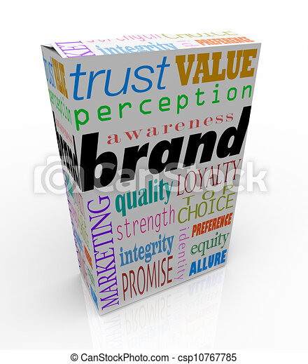Brand Words on Box Package Branding Product - csp10767785