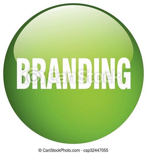 branding green round gel isolated push button - csp32447055