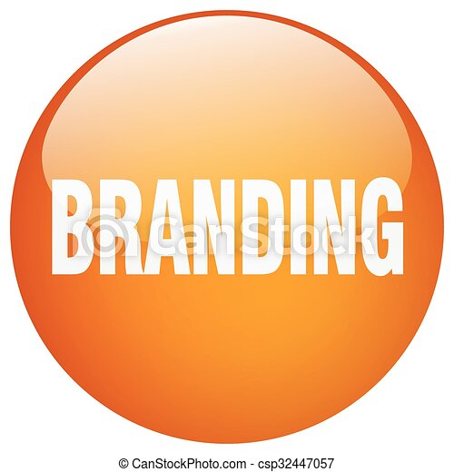 branding orange round gel isolated push button - csp32447057