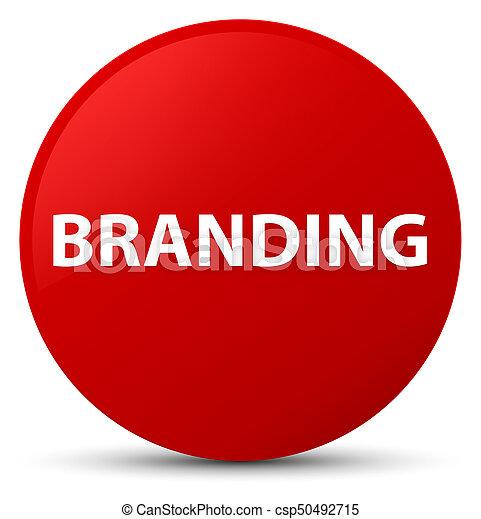 Branding red round button - csp50492715