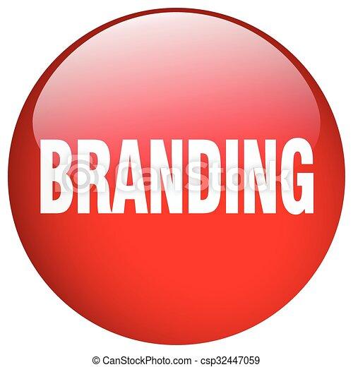 branding red round gel isolated push button - csp32447059