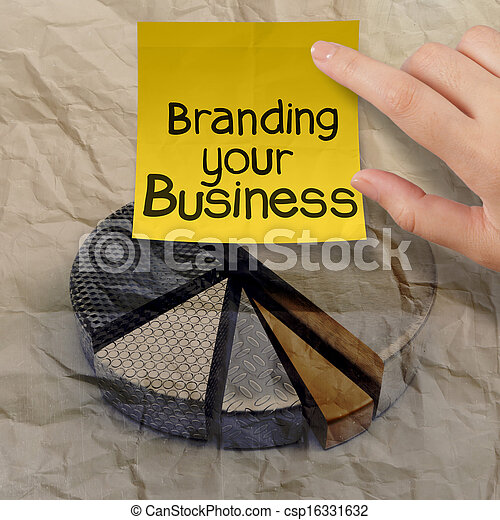 branding your business with pie chart crumpled recycle paper  - csp16331632