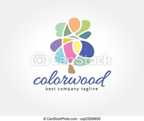 brandmarken, abstrakt, baum, logotype, vektor, schablone, logo, concept., ikone - csp23269658