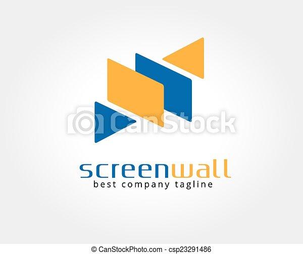 brandmarken, schirm, logotype, abstrakt, vektor, schablone, logo, concept., ikone - csp23291486