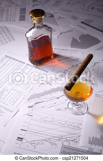 Brandy and cigar on charts - csp21271504