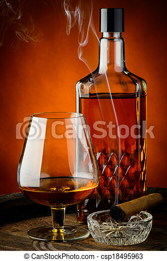 Brandy and cigar - csp18495963