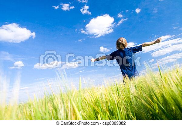 bras, heureux, haut, homme - csp8303382