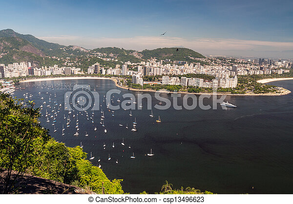 Botafogo Beach y Guanabara Bay, rio de Janeiro, Brasil - csp13496623