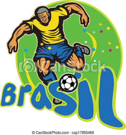 Jugador de fútbol de Brasil pateando pelota retro - csp17955469