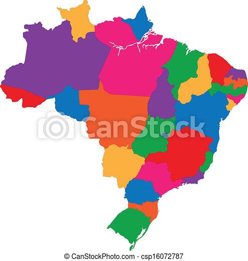 Un colorido mapa brasil - csp16072787