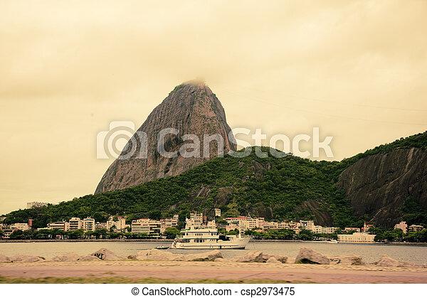 brasil, montaña, janeiro, de, sugarloaf, río - csp2973475