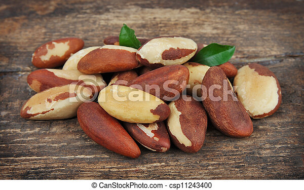 Brasil nuts with leafs  - csp11243400