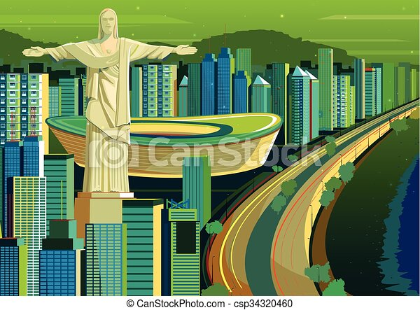 brasil, redentor, cristo, estatua - csp34320460