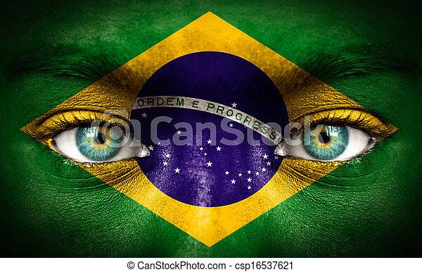 brasilien, gemalt, fahne, menschliches gesicht - csp16537621