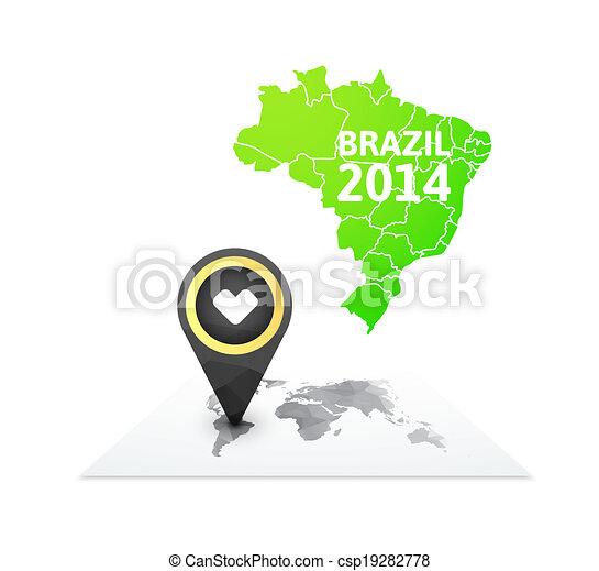 Brasilien Karte Welt.Brasilien Landkarte Markierung Welt