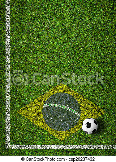 brasilien, soccer bold, felt, flag, græs - csp20237432