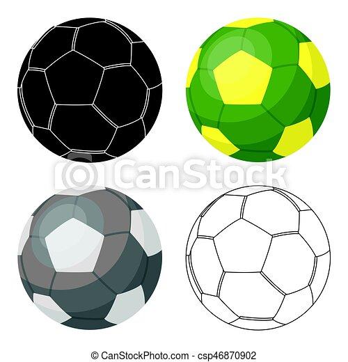 Green Fussball Ikone Im Comic Stil Isoliert Auf Weissem